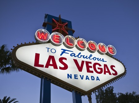 Famous welcome to fabulous Las Vegas Nevada sign. Stock Photo