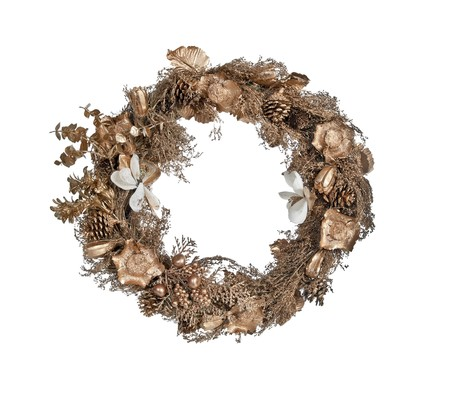 Decorative golden Christmas reef with woven natural materials.