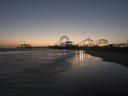 Famous Santa Monica beach on a warm summer night.   photo