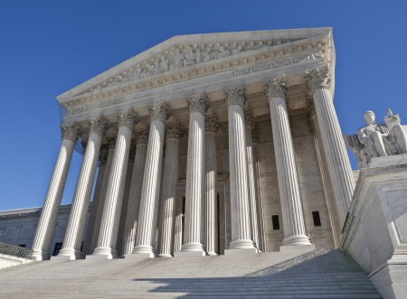 court judge: The Supreme Court building in Washington DC. Stock Photo