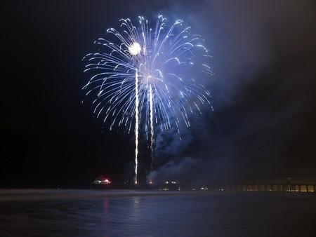 Huntington Beach California.  Annual independence day fireworks. photo