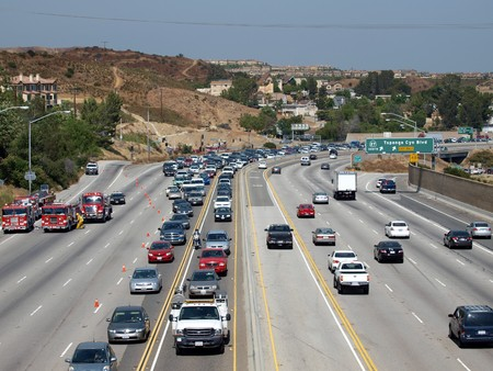 CHATSWORTH CALIFORNIA - JULY 8, 2010:  Brush fire causes traffic jam on the 118 Freeway. Editorial