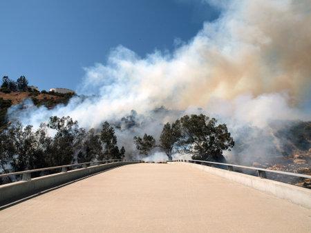 chatsworth: CHATSWORTH CALIFORNIA - JULY 8, 2010:  Brush fire burns along the 118 Freeway.