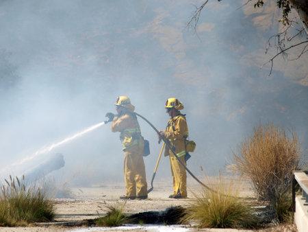 chatsworth: CHATSWORTH CALIFORNIA - JULY 8, 2010:  Los Angeles City Firemen fight brush fire along the 118 Freeway. Editorial