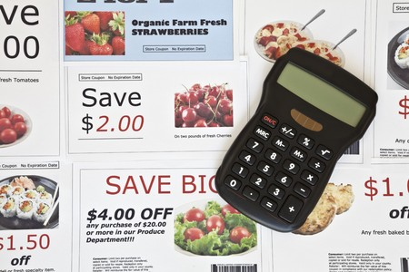Fake coupon background with Calculator Stock Photo - 7362214