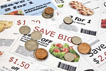 penny pinching: Fake coupon background with coins  All coupons were created by the photographer   Images in the coupons are the photographers work and are included in the release