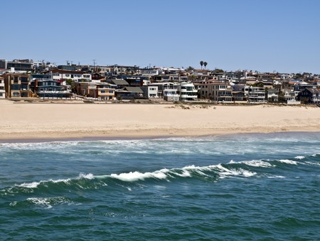 Nice homes and warm sand at Manhattan Beach in Southern California. photo