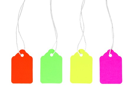 Four colorful blank price tags with string. Stock Photo - 7392417
