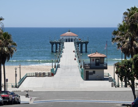 california flag: Manhattan Beach pier in the South Bay region of Los Angeles County. Stock Photo