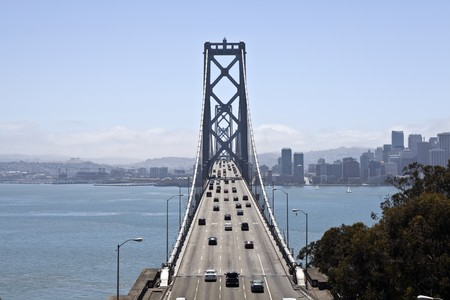 Traffic moves freely across the Bay Bridge to San Francisco. Stock Photo - 7502604
