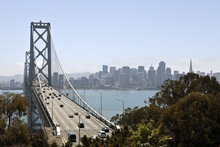 Traffic moves freely across the Bay Bridge towards San Francisco. Stock Photo - 7502626