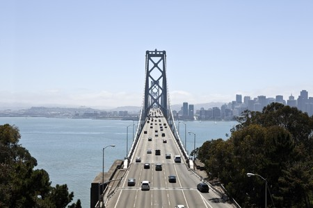 Bay Bridge between Oakland and San Francisco California. Stock Photo - 7529337