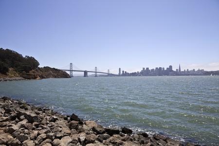 schateiland: San Francisco en de Bay Bridge, gezien vanuit Treasure Island.