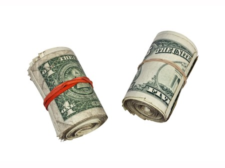 Rolls of dirty street cash.  Small bills only please. Stock Photo - 7529340
