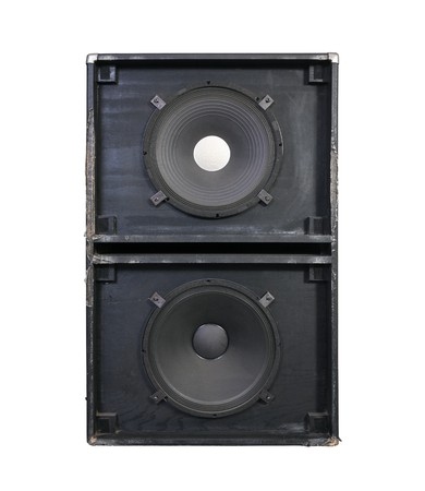 thrashed: Giant 15 inch bass speakers in a thrashed grunge metal garage band cabinet.  Every neighbors nightmare.   Stock Photo
