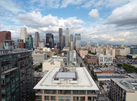 window view: Downtown Los Angeles with smogless spring skies.