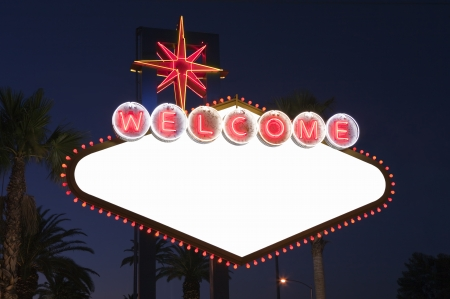 las vegas sign: Blank Las Vegas sign with Palms at night.  Overhead wires were removed.