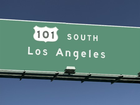 los angeles hollywood: Los Angeles 101 freeway sign in Southern California.