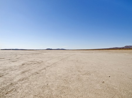 a mirage: El Mirage dry lake in Californias Mojave Desert. Stock Photo