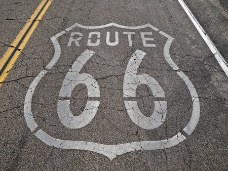 Old, broken section of historic Route 66 in Californias Mojave desert. photo