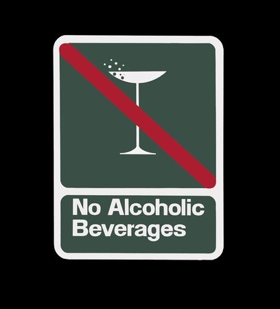 No alcoholic beverages sign.  Martini glass with red stripe. Stock Photo - 7707003