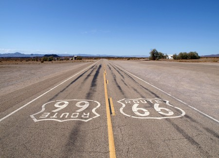Lonely section of historic Route 66 in Californias Mojave desert.   photo