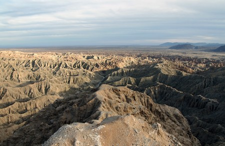 Anza Borrego desert badlands in Southern California.  Late afternoon light. Stock Photo - 7707121