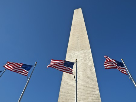 Washington Monument with wind blown flags. Stock Photo - 7707119