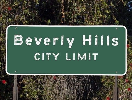 Beverly Hills city limits sign.  Note:  This sign does not contain the Beverly Hills shield or logo. photo
