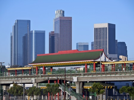 Chinatown light rail metro station in downtown Los Angeles California. photo