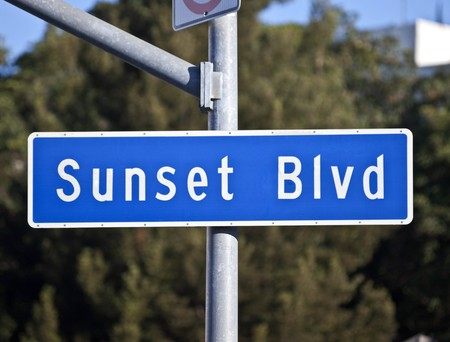 Sunset Blvd sign.  Los Angeless famous route from downtown to Beverly Hills.