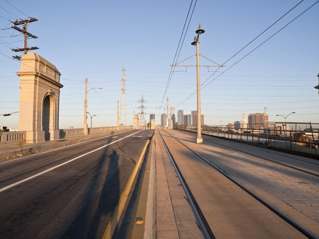 Warm dawn light on East LA's 1st Street Bridge. Stock Photo - 7785055