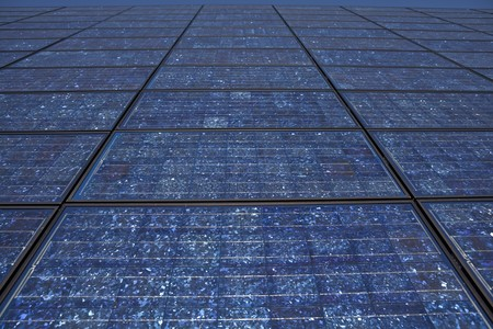 Large wall of new solar panels in the California desert sun. Stock Photo - 7785061