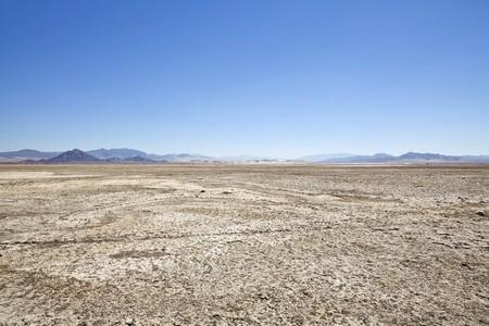 Late summer at Zzyzx dry lake deep inside Californias Mojave desert. Stock Photo