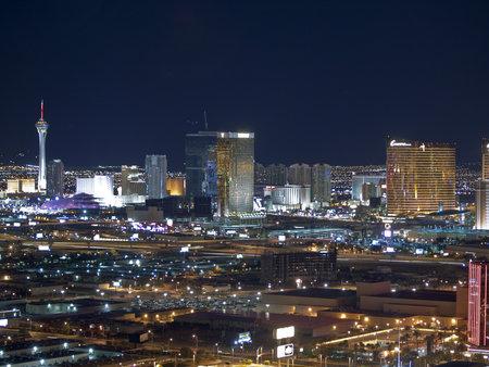 LAS VEGAS NEVADA - SEPTEMBER 13:  Towering new casino resorts shine brightly along the strip in Las Vegas Nevada on September 13, 2010.