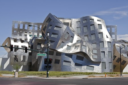 modernist: LAS VEGAS NEVADA - SEPTEMBER 12:  Modernist architect Frank Gehrys new creation The Cleveland Clinic Lou Ruvo Center for Brain Health shines brightly in Las Vegas Nevada on Sept. 12, 2010.