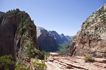 The double cliff trail at Angels Landing in Zion National park in Utah.