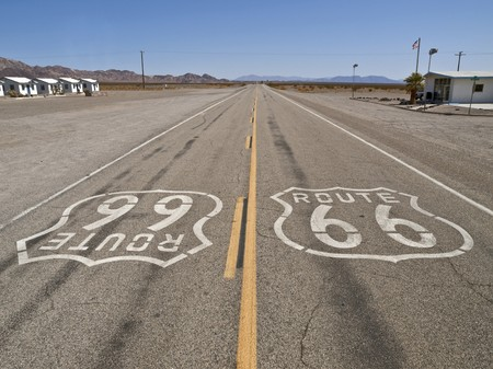 Route 66 on a lonely stretch of California Mojave desert highway. Stock Photo - 7906425