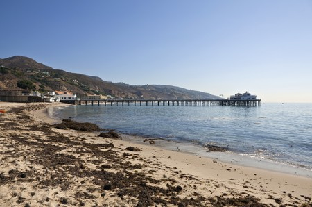 Mid morning at Malibu pier and beach in sunny southern California.