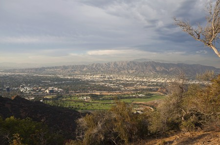 burbank: Storm clouds over burbank and Los Angeless San Fernando Valley.   Stock Photo