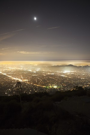 Foggy night view from Echo Mountain high above Pasadena and Los Angeles, California.
