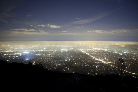 Foggy night above Pasadena and Los Angeles California.  Shot from Echo Mountain in the Angeles National Forest.