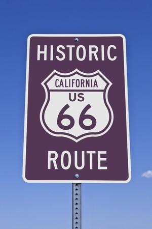 Historic California US Route 66 road sign. photo