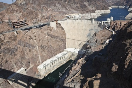 View of Historic Hoover Dam from the newly opened Bypass Highway Bridge. Stock Photo - 8054555