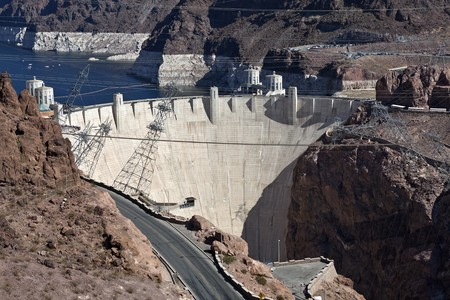 Hoover Dam and Lake Mead viewed from the newly opened bypass bridge. Stock Photo - 8054557