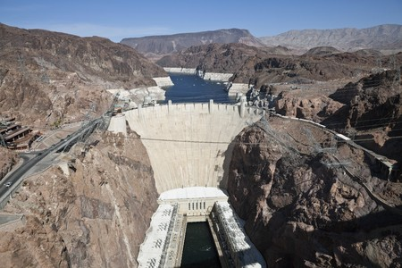 View of Historic Hoover Dam from the newly opened Bypass Highway Bridge. photo