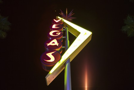 old sign: LAS VEGAS, NEVADA - OCTOBER 10:  Restored giant neon signs successfully attract tourists to the newly revitalizied Fremont Street East district in downtown, October 10, 2010 in Las Vegas, Nevada.