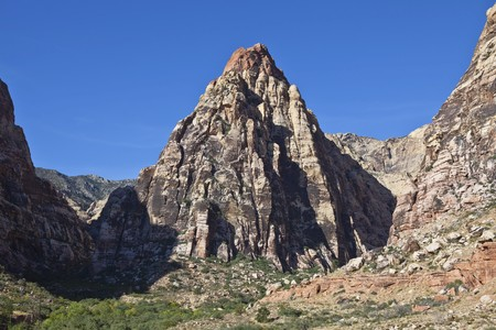 early morning light on Pine Canyon Peak at Red Rock Conservation Area near Las Vegas, Nevada. Stock Photo - 8054556