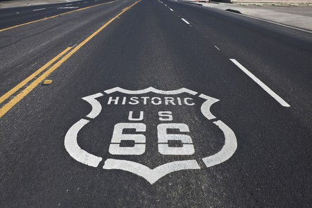 barstow: Route 66 pavement sign on a four section of the historic highway.