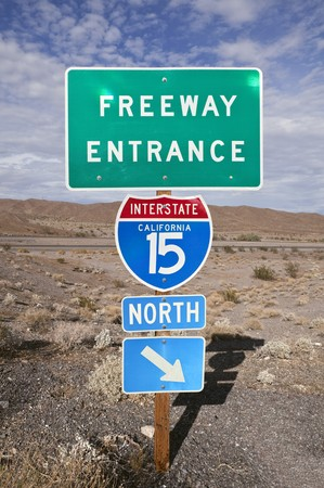 mojave: Famous I-15 through the vast Mojave Desert between Los Angeles and Las Vegas.   Stock Photo